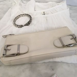 Banana Republic Leather Clutch with Buckle Detail.